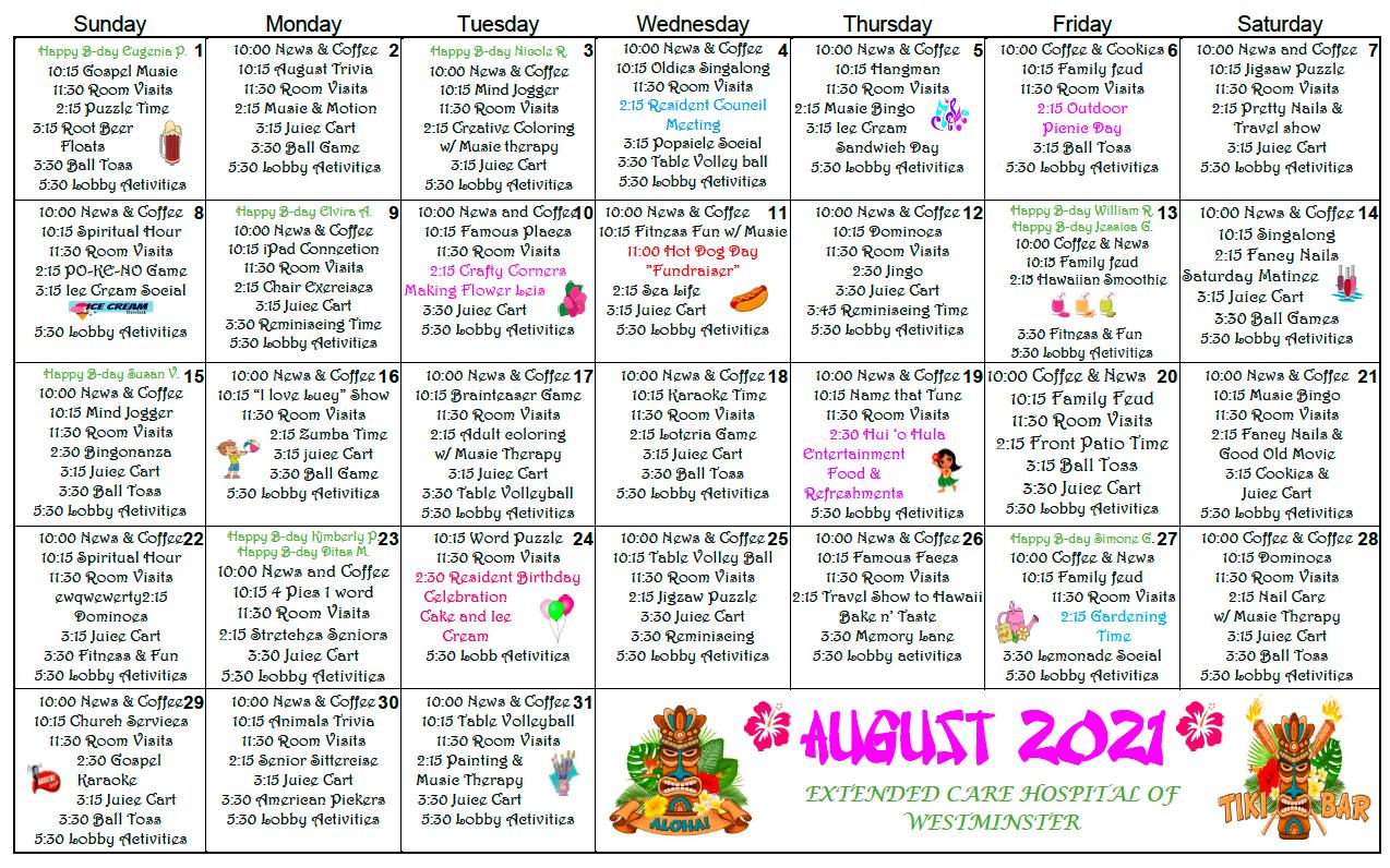 Westminster Ext August calendar