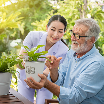 Elderly Man Admiring Plant