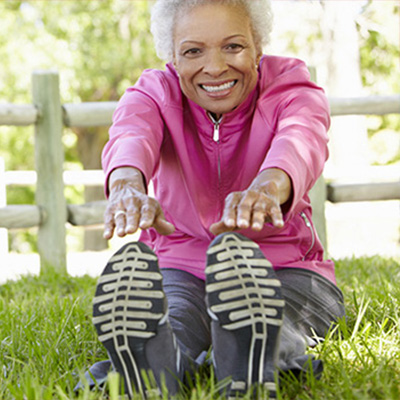 Elderly Women Smiling and Stretching