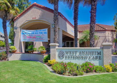 West Anaheim Extended Care entrance to the community.